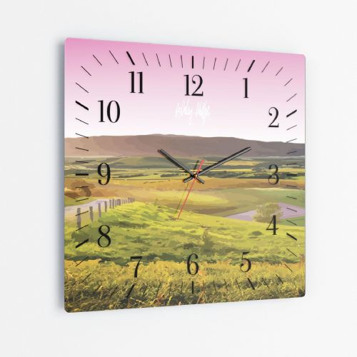 Rolling Hills Pink - Square Glass Clock